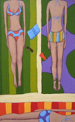 Studio Drawing - Bikinis At The Beach by Christy Beckwith