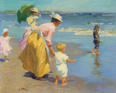 At The Beach Art Print by Edward Potthast