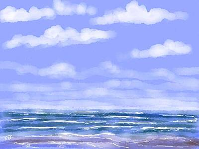 Digital Art - At The Beach by Stacy C Bottoms