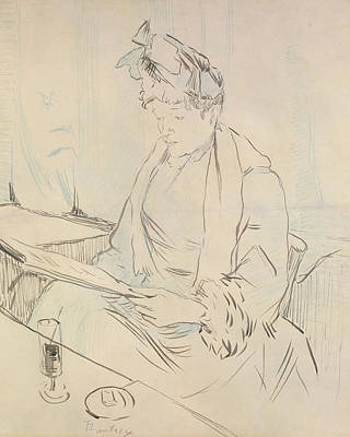 Glass Etching Drawing - At The Cafe by Henri de Toulouse-Lautrec