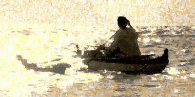 Canoe Mixed Media - At The Canoe Club by Louie Tarter