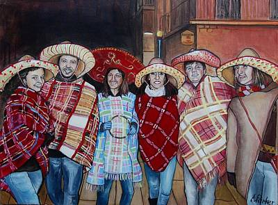 Poncho Painting - At The Carnevale by Anne Parker