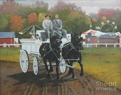 Horse Pulling Wagon Painting - At The Carp Fair by Al Hunter