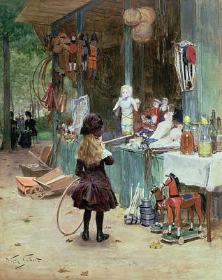 Stalls Painting - At The Champs Elysees Gardens by Victor Gabriel Gilbert