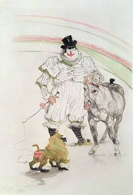 Photograph - At The Circus Performing Horse And Monkey, 1899 Chalk, Crayons And Graphite by Henri de Toulouse-Lautrec