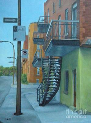 Old Neighbourhood Painting - At The Crossroads Mile End by Rita-Anne Piquet