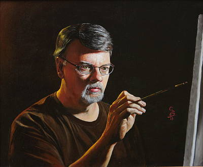 Art Print featuring the painting At The Easel Self Portrait by Glenn Beasley