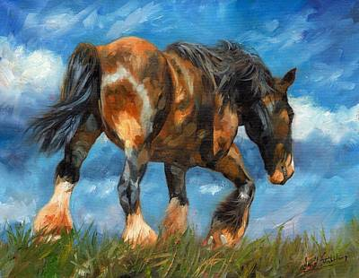Shire Horse Painting - At The End Of The Day by David Stribbling