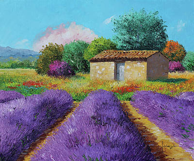 Painting - At The End Of The Lavender Field by Jean-marc Janiaczyk