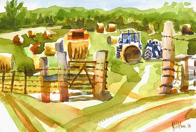 Farm Scene Painting - At The Farm Baling Hay by Kip DeVore