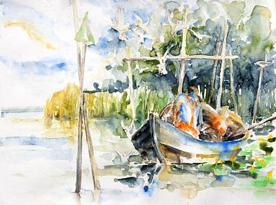 At The Fish Trap Art Print by Barbara Pommerenke