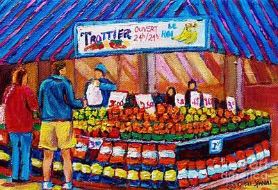 Montreal Streets Painting - At The Fruit Market Marche Jean Talon Montreal Urban Scenes Carole Spandau by Carole Spandau