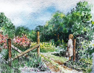 Waiting Girl Painting - At The Gate Summer Landscape by Irina Sztukowski