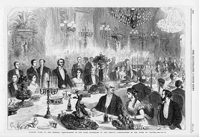 Louvre Drawing - At The Hotel Du Louvre, A Banquet by  Illustrated London News Ltd/Mar
