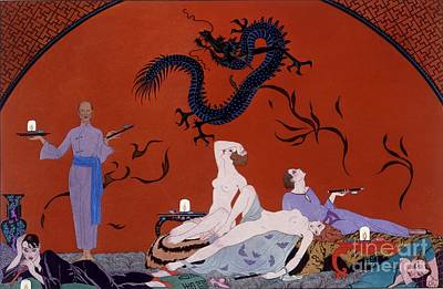 Contemplating Painting - At The House Of Pasotz by Georges Barbier