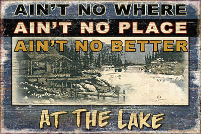 At The Lake Sign Art Print by JQ Licensing