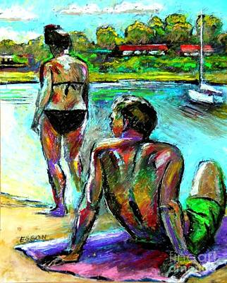 Drawing - At The Marina by Stan Esson
