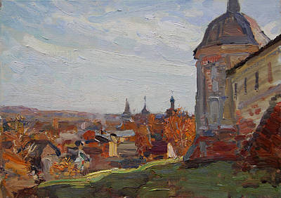 Painting - At The Monastery Goritsky by Korobkin Anatoly