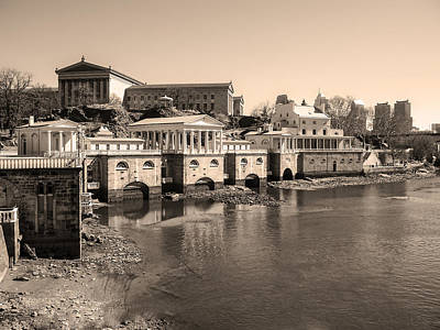 At The Philadelphia Waterworks In Sepia Art Print by Bill Cannon
