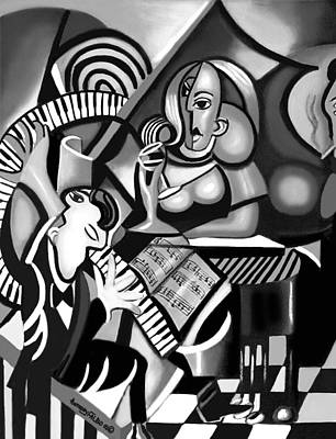 At The Piano Bar Art Print by Anthony Falbo