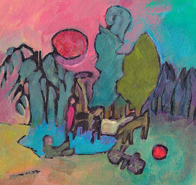 Mixed Media - At The Pond by Catherine Redmayne