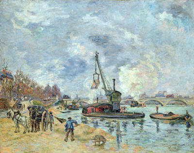 Horse And Carriage Painting - At The Quay De Bercy In Paris by Jean Baptiste Armand Guillaumin