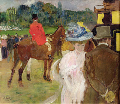 Race Horse Painting - At The Races At Auteuil by Leon Georges Carre