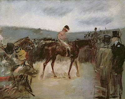 Racecourse Painting - At The Races by Jean Louis Forain