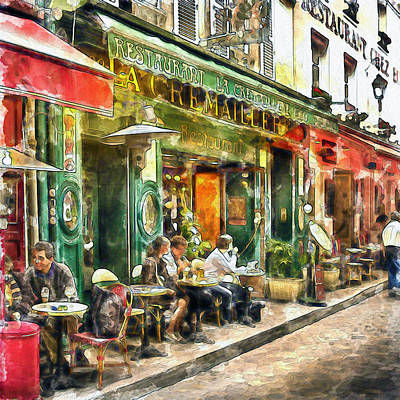 Red Art Mixed Media - At The Restaurant In Paris by Marian Voicu