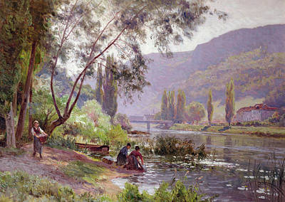 Mountain Valley Painting - At The River's Edge by Emile Isenbart