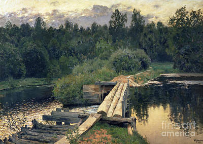 Dam Painting - At The Shallow by Isaak Ilyich Levitan
