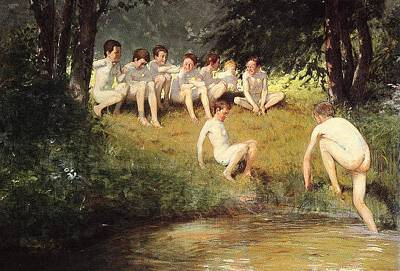 Swimming Hole Painting - At The Swimming Hole by Joseph Eduard Sauer