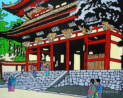 Large Buddha Painting - At The Temple by Roberto Prusso