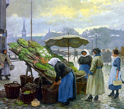 Photograph - At The Vegetable Market by Paul Gustav Fischer