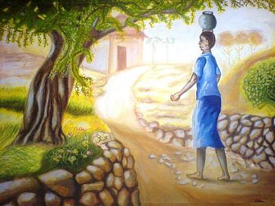 Painting - At The Village Side by Wedam Abassey