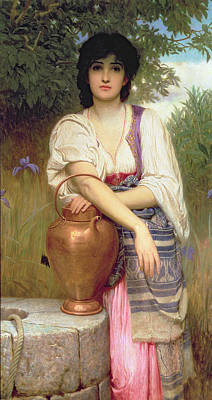 Woman At The Well Painting - At The Well by Charles Edward Perugini