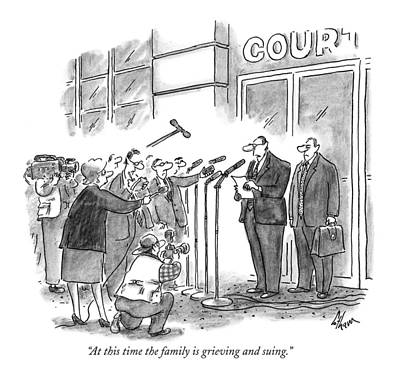 Microphone Drawing - At This Time The Family Is Grieving And Suing by Frank Cotham