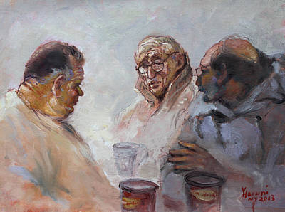 Chatting Painting - At Tim Hortons by Ylli Haruni
