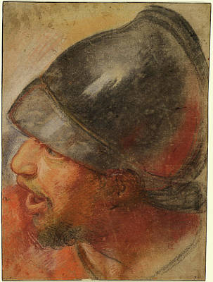 Atelier Drawing - Atelier Assistant Of Charles Le Brun, Head Of A Macedonian by Quint Lox