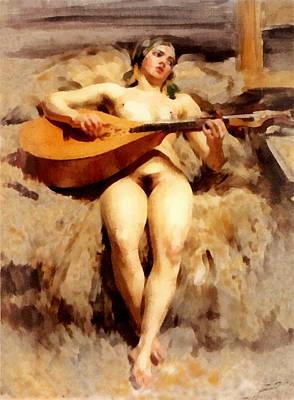 Nude Woman Guitar Digital Art - Atelje Idyll by Anders Zorn