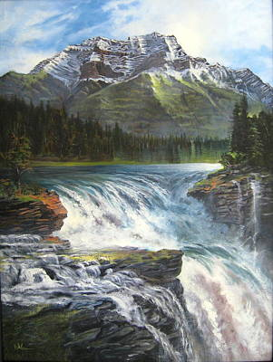 Art Print featuring the painting Athabasca Falls by LaVonne Hand