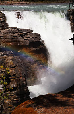 Photograph - Athabasca Falls Rainbow by Jean Clark