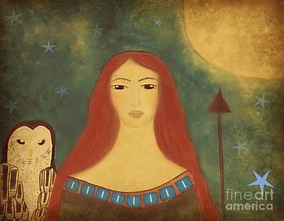 Goddess Painting - Athena Folk War Goddess  by Sacred  Muse