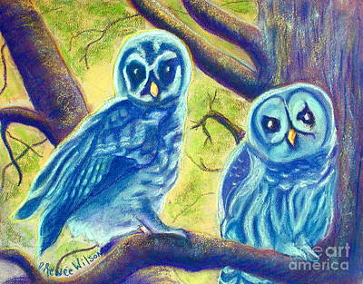 Tree Painting - Athena's Owlets by D Renee Wilson