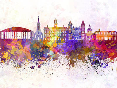 Ohio Painting - Athens - Oh Skyline In Watercolor Background by Pablo Romero