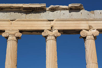 Acropolis Photograph - Athens, Attica, Greece. Ionic Capitals by Panoramic Images