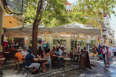 Plaka Photograph - Athens, Greece.  Scene In Plaka by Ken Welsh