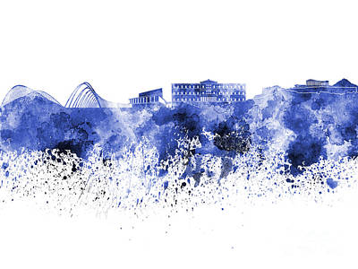 Greece Watercolor Painting - Athens Skyline In Blue Watercolor On White Background by Pablo Romero
