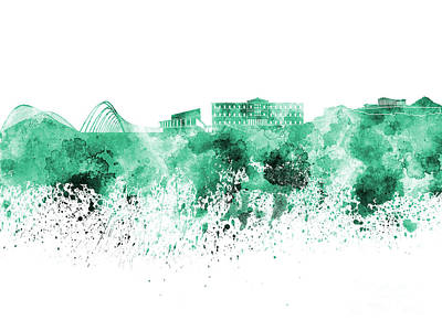 Greece Watercolor Painting - Athens Skyline In Green Watercolor On White Background by Pablo Romero