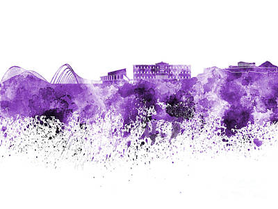 Greece Watercolor Painting - Athens Skyline In Purple Watercolor On White Background by Pablo Romero